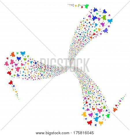 Plugin fireworks swirl rotation. Vector illustration style is flat bright multicolored iconic symbols on a white background. Object twirl created from random pictographs.
