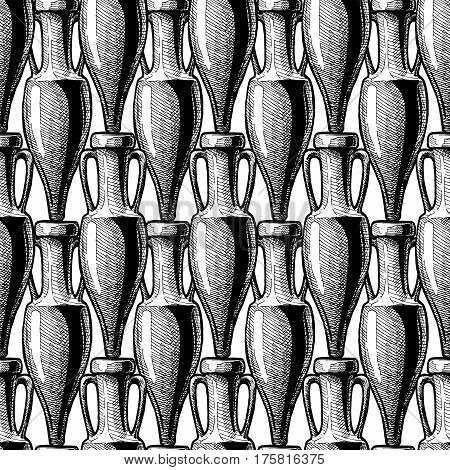 vector black-and-white seamless pattern with ancient amphora. illustration background in ink hand drawn style