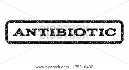 Antibiotic watermark stamp. Text caption inside rounded rectangle frame with grunge design style. Rubber seal stamp with dust texture. Vector black ink imprint on a white background.