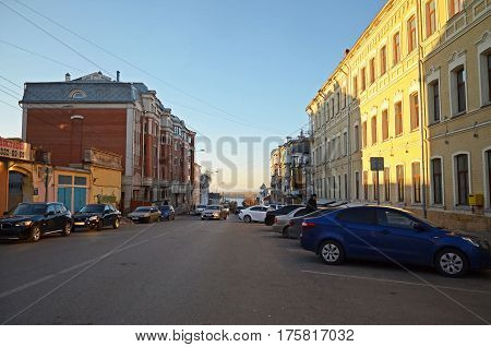 Samara Russia - Nov 20 2016: Samara street leading to the embankment at sunset