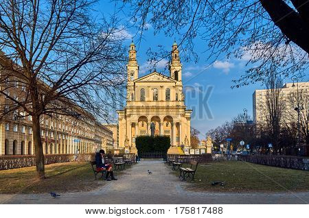 Warsaw, Poland - March 05, 2017: Parish of Saint Andrew the Apostle on Mirow - Roman Catholic parish in Warsaw the downtown deanery. Supported by archdiocesan priests. The parish was erected in 1774. The church built in the nineteenth century.
