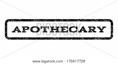 Apothecary watermark stamp. Text tag inside rounded rectangle frame with grunge design style. Rubber seal stamp with dirty texture. Vector black ink imprint on a white background.