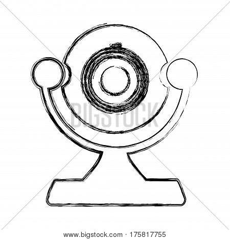 monochrome sketch of desktop webcam vector illustration