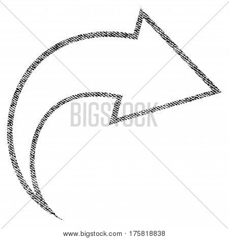 Redo vector textured icon for overlay watermark stamps. Black jeans fabric vectorized texture. Symbol with dirty design. Black ink rubber seal stamp with fiber textile structure.
