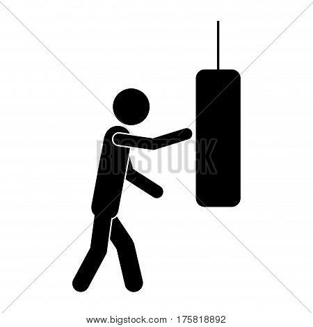 monochrome pictogram with man knocking punching bag vector illustration