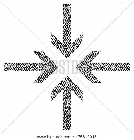 Reduce Arrows vector textured icon for overlay watermark stamps. Black jeans fabric vectorized texture. Symbol with unclean design. Black ink rubber seal stamp with fiber textile structure.