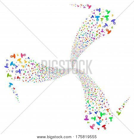 Unknown Person fireworks swirl rotation. Vector illustration style is flat bright multicolored iconic symbols on a white background. Object whirlpool created from random icons.