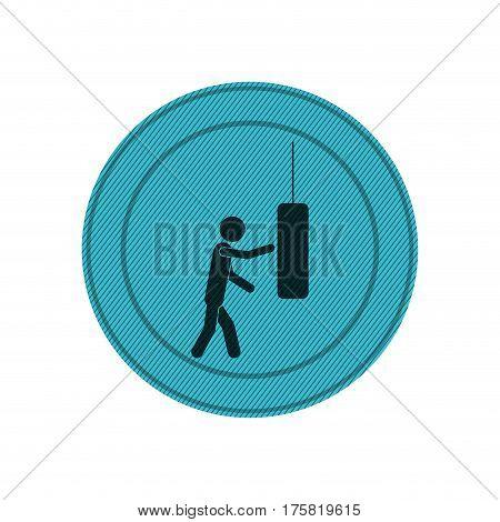 light blue circular frame of man knocking punching bag vector illustration