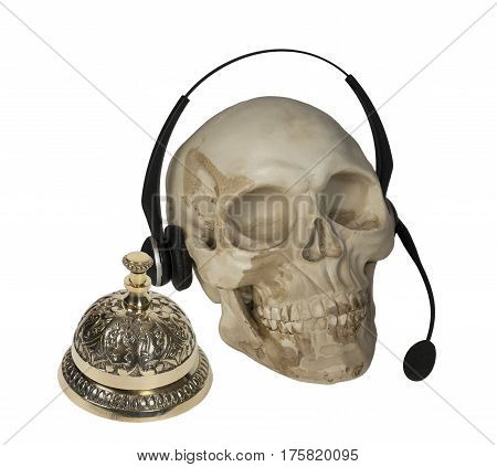 Skull with Audio Microphone and Service Bell - path included