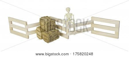 Skeleton and bales of hay at a wooden fence - path included