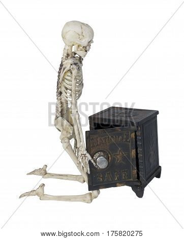 Skeleton with a safe used to store securities and money - path included