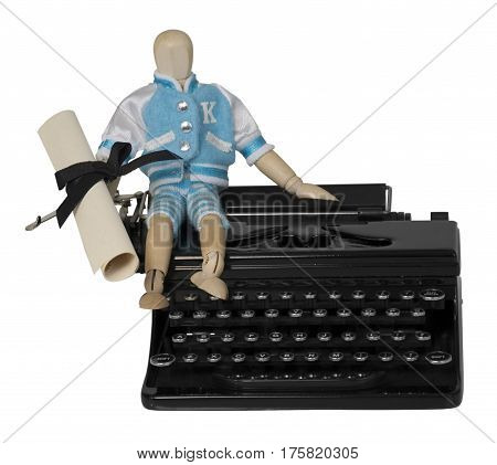 Student and Diploma on Typewriter - path included