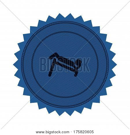 blue circular seal with abdominal training on inclined bar vector illustration