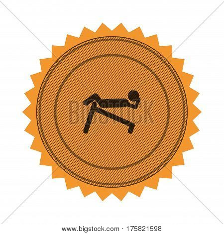 amber circular seal with abdominal training on inclined bar vector illustration