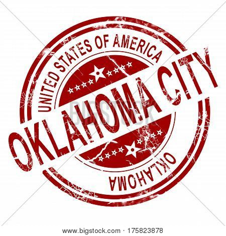 Oklahoma City Stamp With White Background