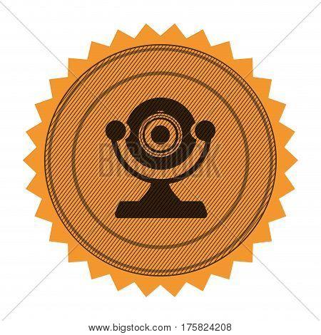 circular frame with contour sawtooth with desktop webcam vector illustration