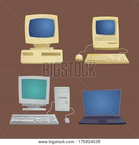 Retro computer item classic antique technology style business personal equipment and vintage pc desktop hardware communication object vector illustration. Grunge revival detail antique style.