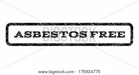 Asbestos Free watermark stamp. Text tag inside rounded rectangle with grunge design style. Rubber seal stamp with dust texture. Vector black ink imprint on a white background.