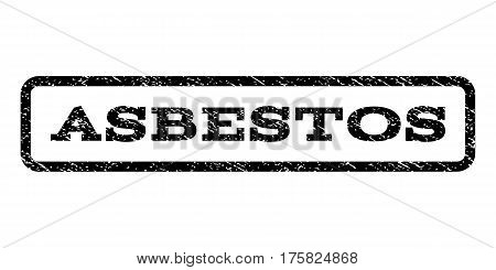 Asbestos watermark stamp. Text caption inside rounded rectangle with grunge design style. Rubber seal stamp with unclean texture. Vector black ink imprint on a white background.
