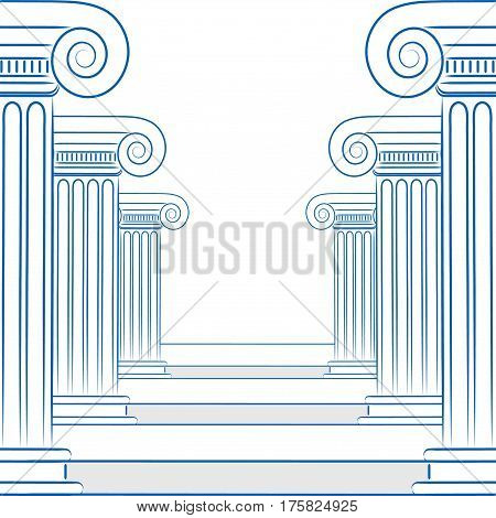 Abstract Line Drawing Of Greek Columns And Stairs In Vector Format.