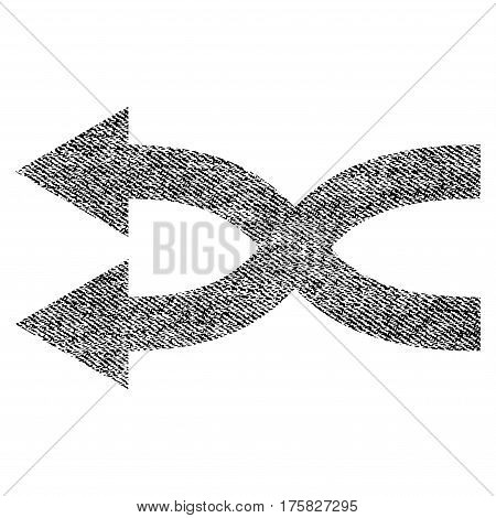 Shuffle Arrows Left vector textured icon for overlay watermark stamps. Black jeans fabric vectorized texture. Symbol with unclean design. Black ink rubber seal stamp with fiber textile structure.
