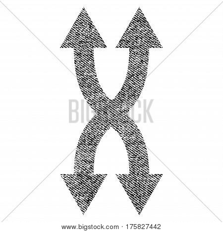 Shuffle Arrows Vertical vector textured icon for overlay watermark stamps. Black jeans fabric vectorized texture. Symbol with dirty design. Black ink rubber seal stamp with fiber textile structure.