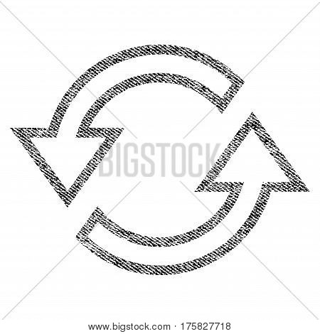 Sync Arrows vector textured icon for overlay watermark stamps. Black jeans fabric vectorized texture. Symbol with dirty design. Black ink rubber seal stamp with fiber textile structure.