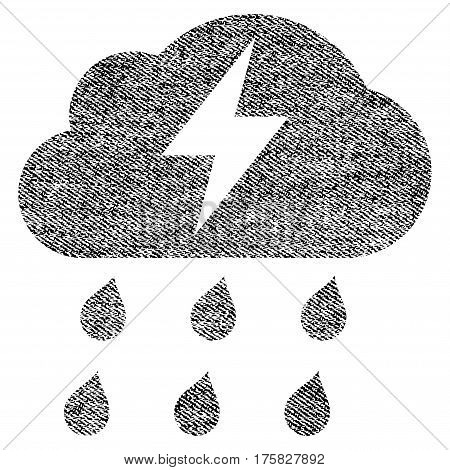 Thunderstorm vector textured icon for overlay watermark stamps. Black jeans fabric vectorized texture. Symbol with unclean design. Black ink rubber seal stamp with fiber textile structure.