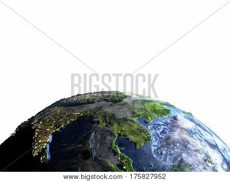 Indochina On Earth - Visible Ocean Floor