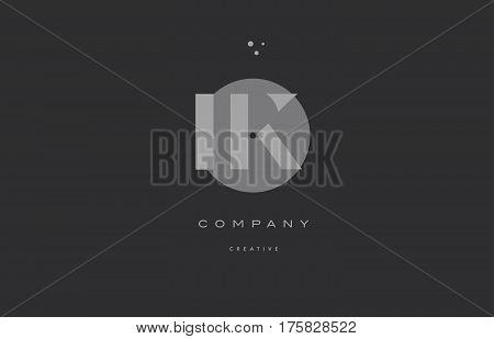 Ik I K  Grey Modern Alphabet Company Letter Logo Icon
