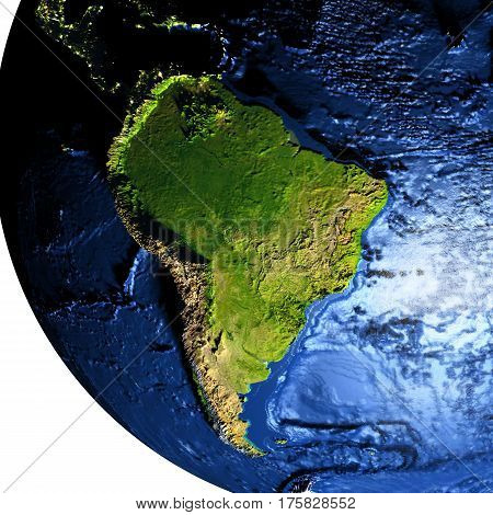 South America On Earth With Exaggerated Mountains