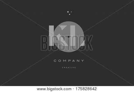 Kl K L  Grey Modern Alphabet Company Letter Logo Icon