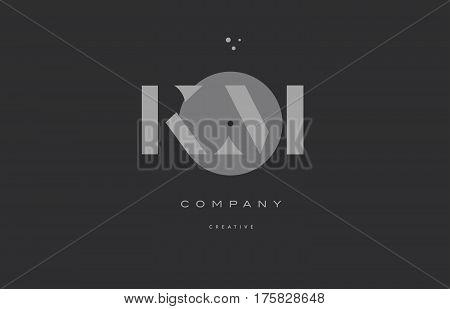Km K M  Grey Modern Alphabet Company Letter Logo Icon