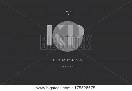 Kp K P  Grey Modern Alphabet Company Letter Logo Icon