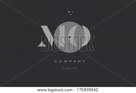 Mo M O  Grey Modern Alphabet Company Letter Logo Icon