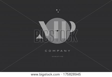 Mp M P  Grey Modern Alphabet Company Letter Logo Icon