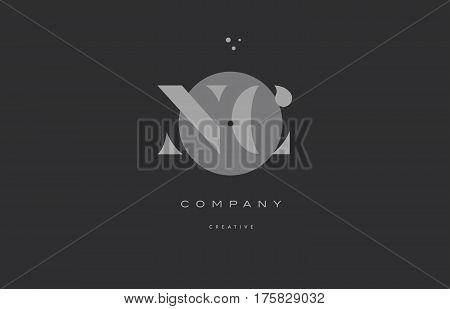 Nc N C  Grey Modern Alphabet Company Letter Logo Icon