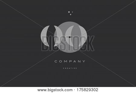 Oo O  Grey Modern Alphabet Company Letter Logo Icon