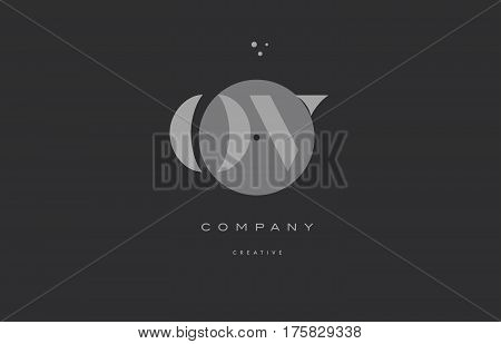 Ov O V  Grey Modern Alphabet Company Letter Logo Icon