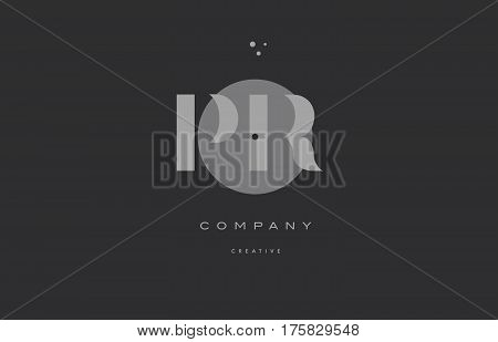 Pr P R  Grey Modern Alphabet Company Letter Logo Icon