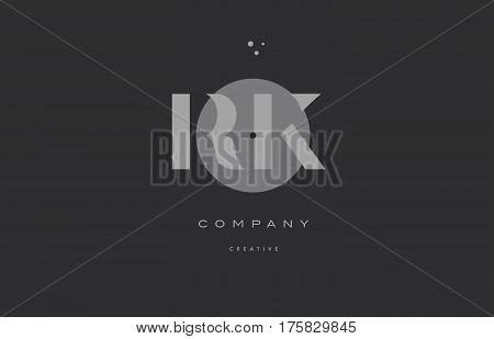 Rk R K  Grey Modern Alphabet Company Letter Logo Icon