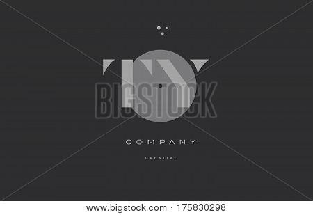 Ty T Y  Grey Modern Alphabet Company Letter Logo Icon