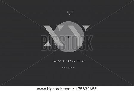 Xy X Y  Grey Modern Alphabet Company Letter Logo Icon