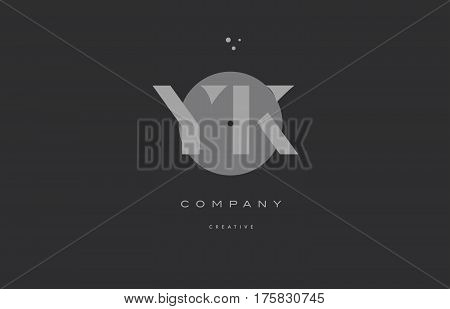 Yk Y K  Grey Modern Alphabet Company Letter Logo Icon