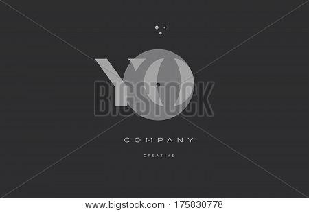Yo Y O  Grey Modern Alphabet Company Letter Logo Icon