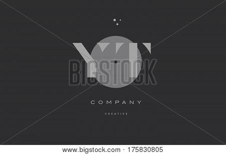 Yt Y T  Grey Modern Alphabet Company Letter Logo Icon