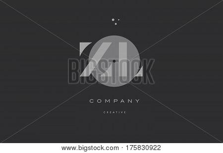 Zl Z L  Grey Modern Alphabet Company Letter Logo Icon