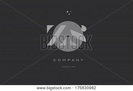 Zs Z S  Grey Modern Alphabet Company Letter Logo Icon