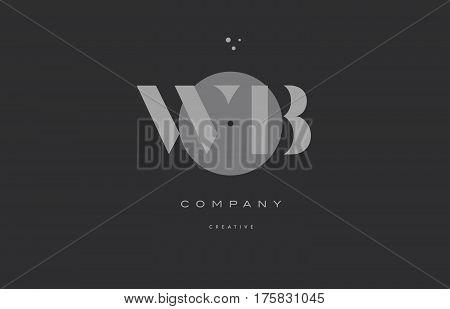 Wb W B  Grey Modern Alphabet Company Letter Logo Icon