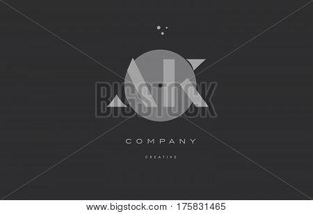 Ak A K  Grey Modern Alphabet Company Letter Logo Icon